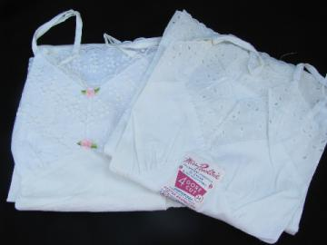 WWII 40s vintage cotton full slips w/ tags, broadcloth & eyelet, plisse & lace