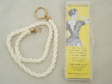 Zip it Yourself 50s vintage dress zipper puller, pearl chain w/ hook